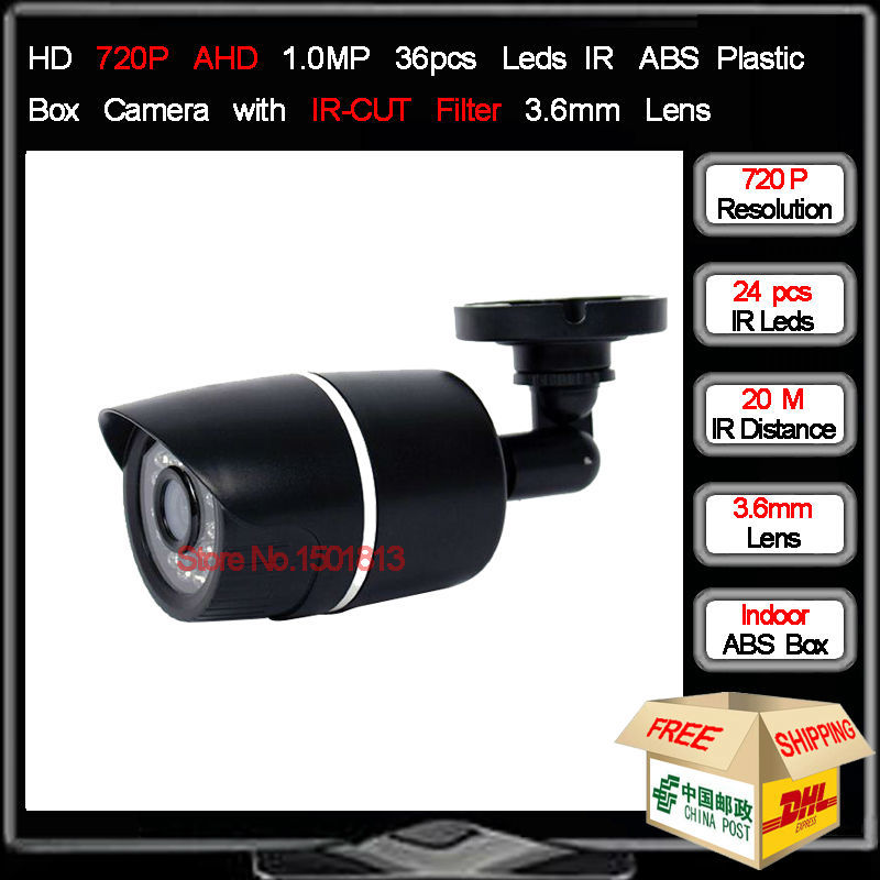 New HD 720P Analog High Definition AHD Camera 1.0MP 24Pcs IR Leds 20M ABS Plastic Box Camera with 3.6mm MP Lens Free Shipping(China (Mainland))