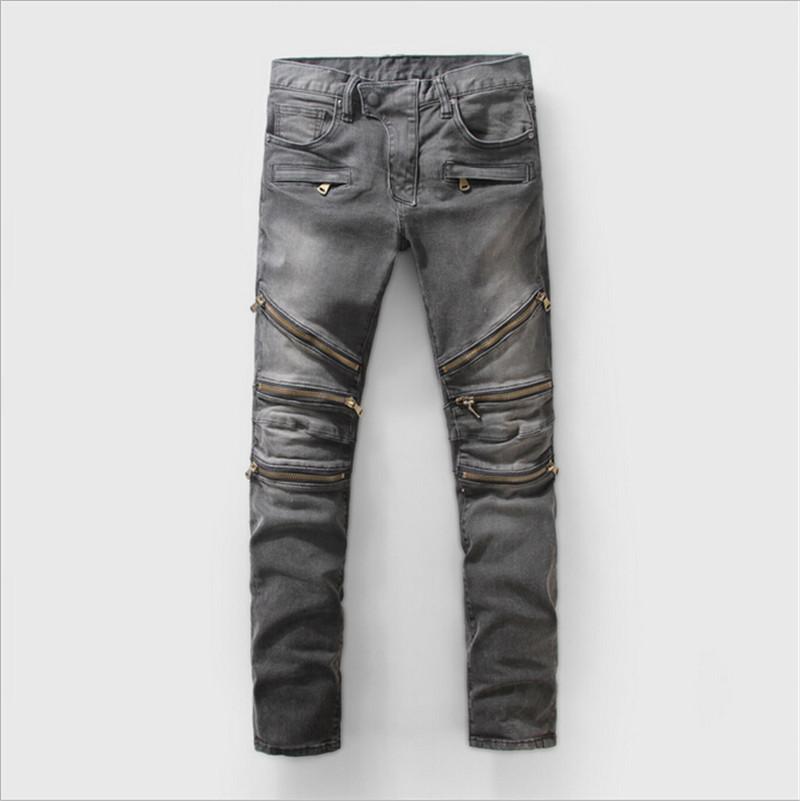 ripped jeans for men Distressed jeans skinny biker gray kanye west destroyed slim hip hop pants