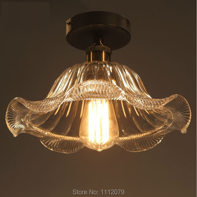 Free Shipping!Retro American Vintage Creative led glass Ceiling Lamps for cafe/aisle/bar/Foyer/dining room;Lotus leaf shape lamp(China (Mainland))