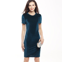 Buy VITIANA Brand Women Velvet Sheath Dress Green Black O-Neck Short Sleeve Slim Pencil Office Work Wear Knee Length Dresses for $8.78 in AliExpress store