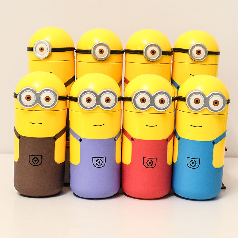 2016 new 250ml Lovely Minions Bottles Cup Travel Funny cute cartoon Cups Thermos Mug flask 250ml Hight Quality Child Gift(China (Mainland))