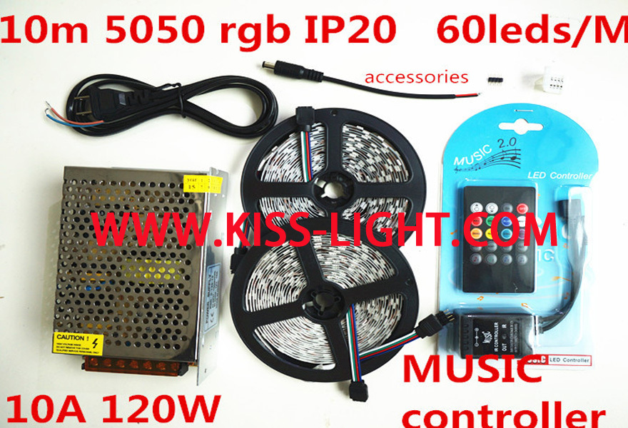 10M RGB LED Strip SMD5050 60LED/M Flexible Non Waterproof +Music dimmer controller+ 12V 120W Power white red green blue KS020 - Shenzhen Kiss Lighting Co., Ltd. store