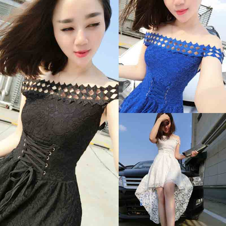 New Women Long dress Slash neck Patch Hollow Out Lace 883 Dovetail Sexy Atmosphere Dresses White Red Blue Black 6349(China (Mainland))