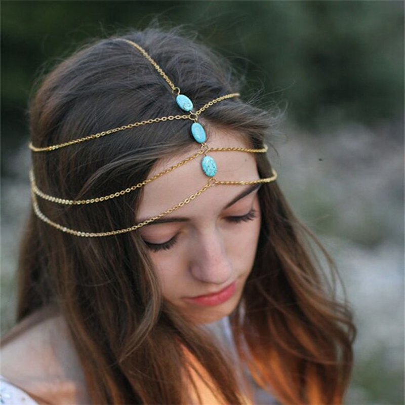 Euro Boho Multilayer Metal Chain Headbands Blue Turquoise Nickel-free Plating Gold Fashion Forehead Jewelry for Hair Accessories(China (Mainland))
