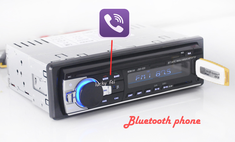 Car Radio Stereo Player Bluetooth Phone AUX-IN MP3 FM/USB/1 Din/remote control For Iphone 12V Car Audio Auto 2016 Sale New(China (Mainland))