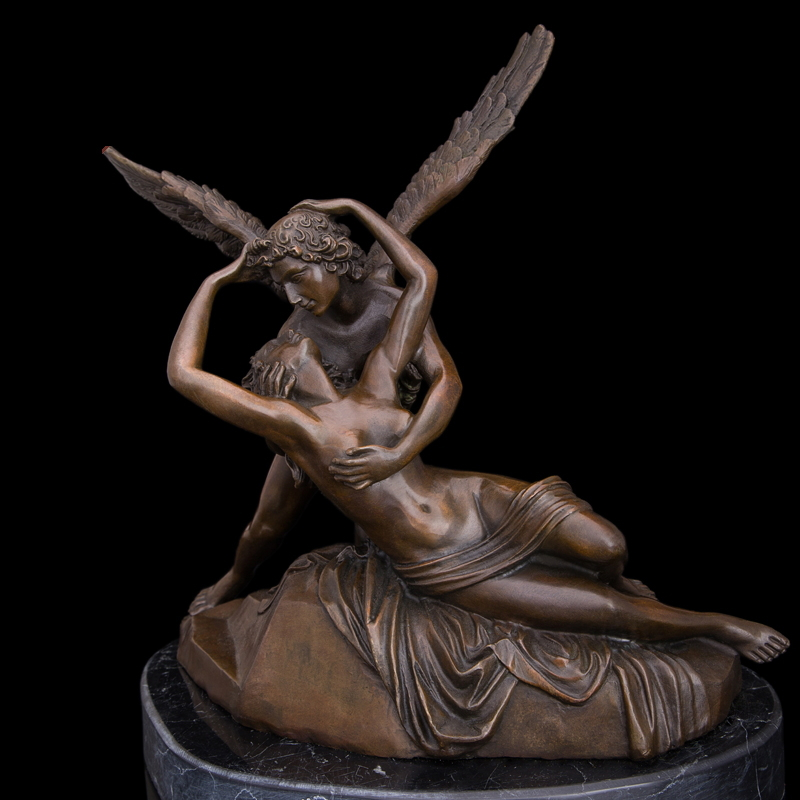 Best Selling Greek mythology Cupid and Psyche Bronze statues love kiss famous sculptures romantic wedding decor(China (Mainland))