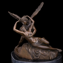 ATLIE BRONZES Greek mythology Cupid and Psyche  love kiss famous  Bronze statues sculptures  romantic wedding decor(China (Mainland))