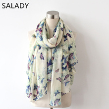 2016 Fashion Japan and South Korea the new autumn and winter large print animal chiffon long Butterfly scarf shawl Multifunction