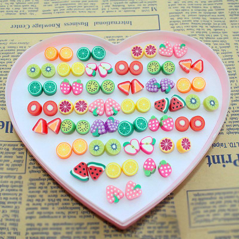 Wholesale 36 Lot Sweet Candy Color Novelty Items Fruit Stud Earrings Handmade Cute Girls Animal Cat Snake Stud Earring Women<br><br>Aliexpress