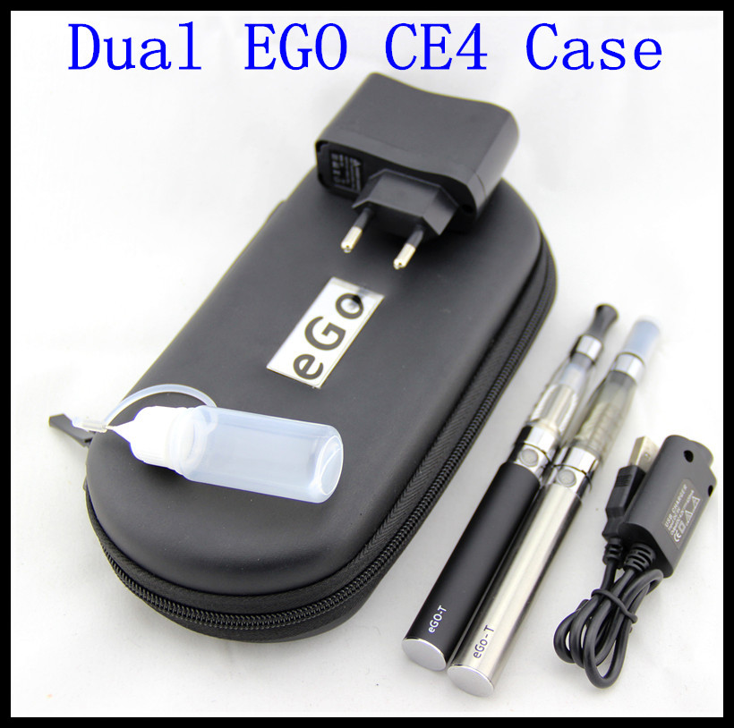 eGo CE4 Double Starter kit 2 CE4 atomizer battery 1100mah in ecigarette zipper case from china ego Electronic Cigarette smoking