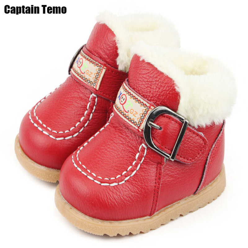Winter baby genuine leather boots first walkers baby warm shoes for 6-24 month baby Zapatos para bebe(China (Mainland))