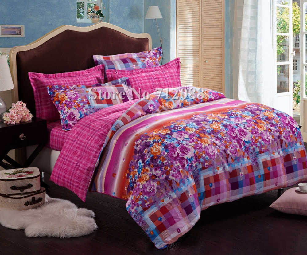 Wholesale queen king comforter purple pink flower checked - Pink and purple bedding queen ...