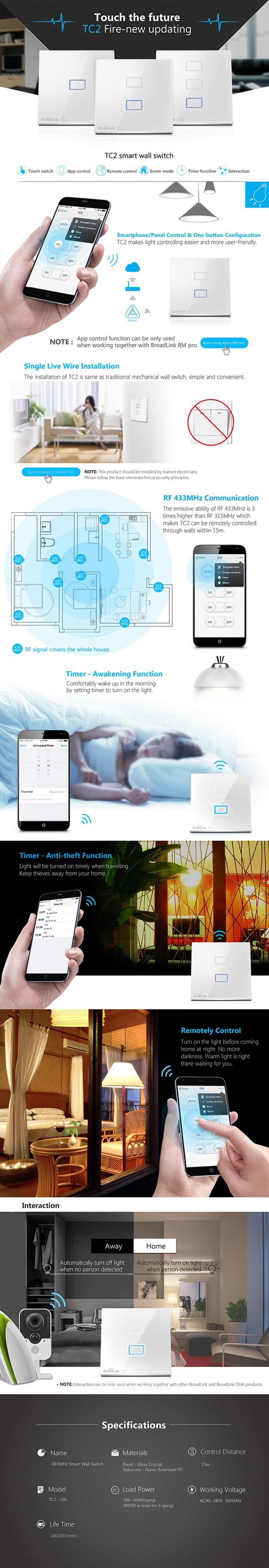 Broadlink TC2 EU Standard 3 Gang mobile Wireless Remote Control Light Switch Touch Screen by broadlink rm2,Smart Home Automation