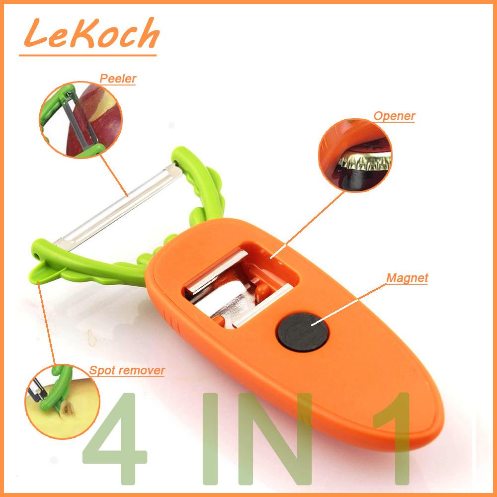 4 in 1 Creative Kitchen Tool Carrot Beer Bottle Opener Tomato Peeler Slicer Refrigerator Magnets Potato Fruit Peeler KT-1048(China (Mainland))