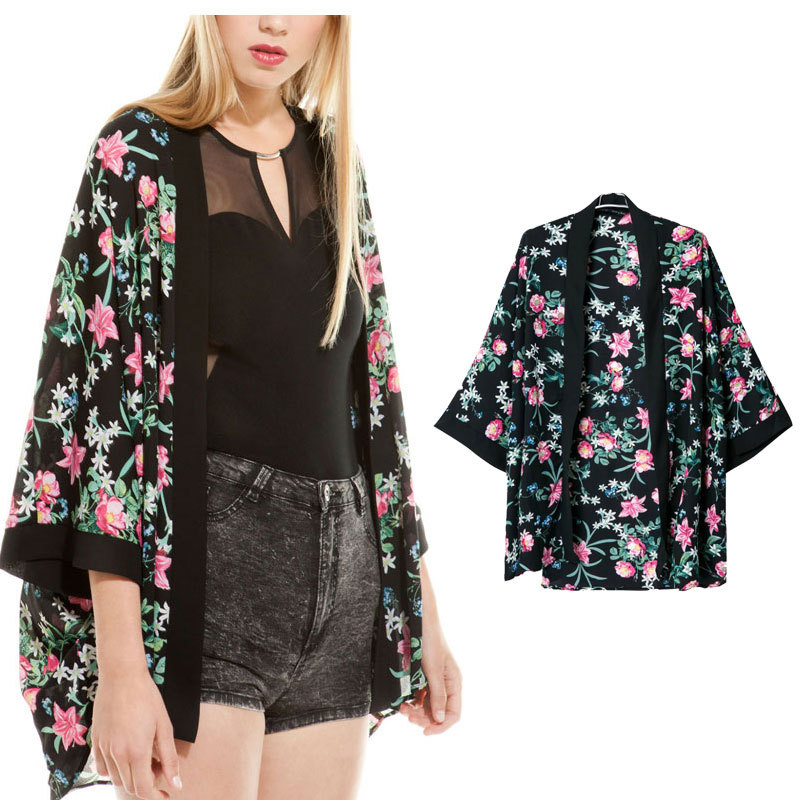 Womens Loose Japanese Style Floral Print Kimono Coat Cardigan Chiffon Blouse Black Size S M L - Factory Price Clothing(Offer Drop Shipping store)