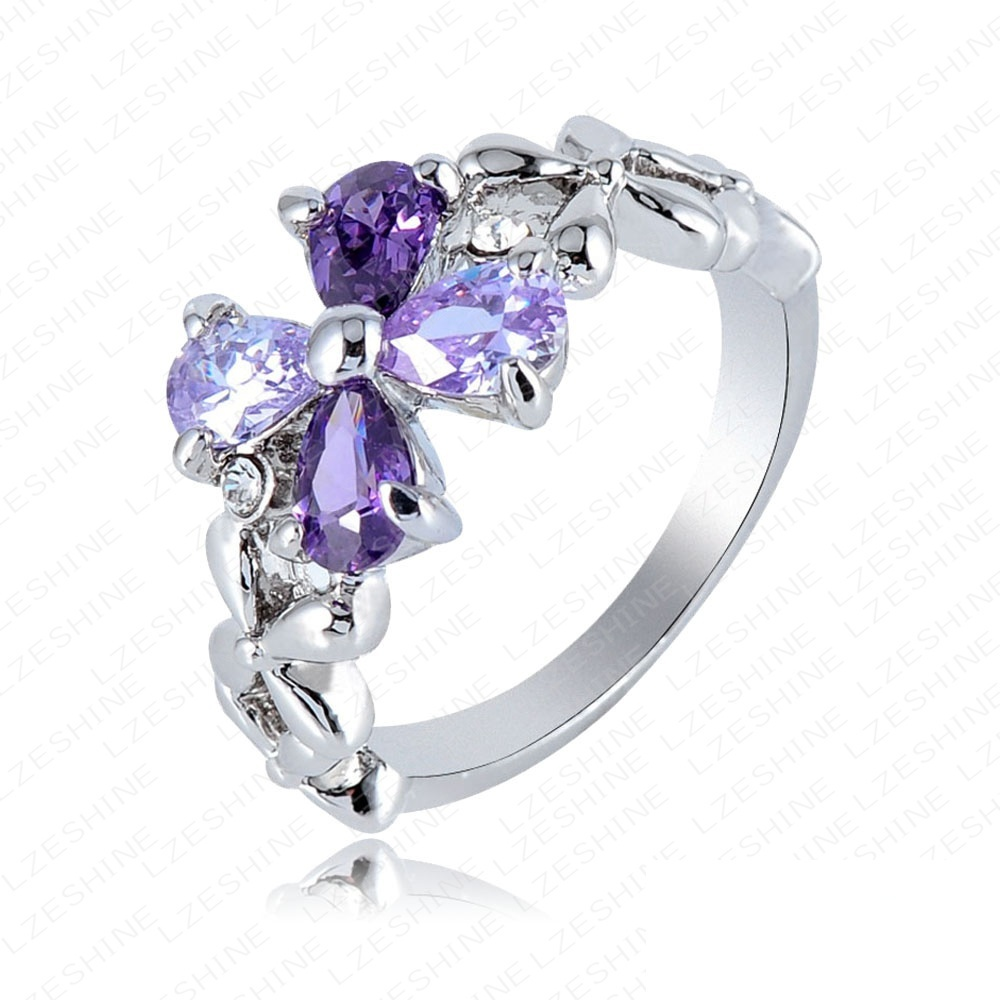 Beautiful Purple Flower Austrian Crystals Elements Ring Platinum Plated Fashion Ring Wholesale 22*12mm Ri-HQ0257(China (Mainland))