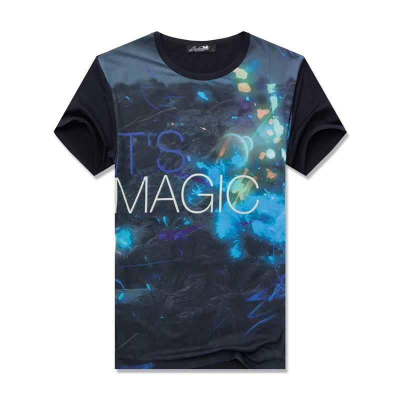 2015 Hot sales Mens Modal short sleeve Magic Letter t shirt Man o neck 3d Universal sky star Summer Tee,JA208(China (Mainland))