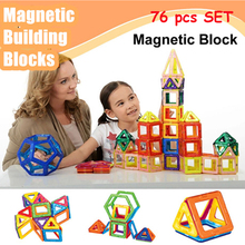 Kids Toys Educational Magformers 76PCS Magnetic Toy Triangle Square Hexagonal 3D DIY Building Blocks Creative Toys For Children(China (Mainland))