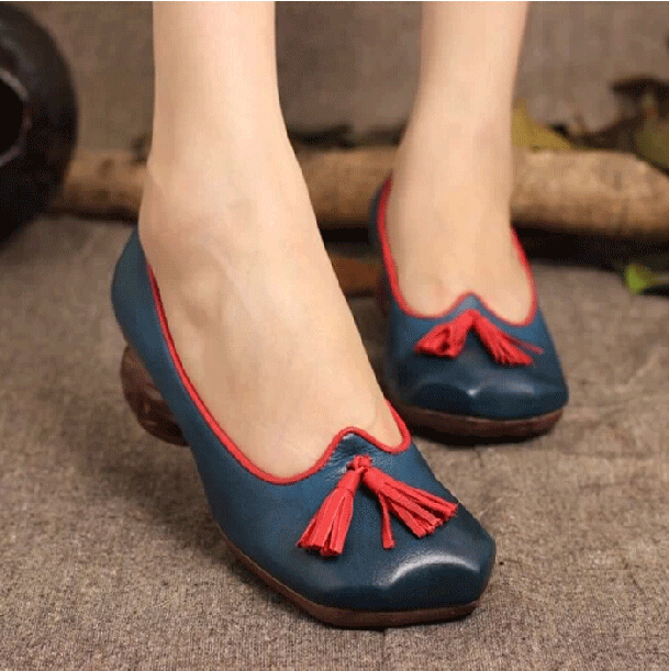 Здесь можно купить  2014 spring/autumn full grain leather vintage mid-heels women shoes wide feet fat feet single shoes  Обувь