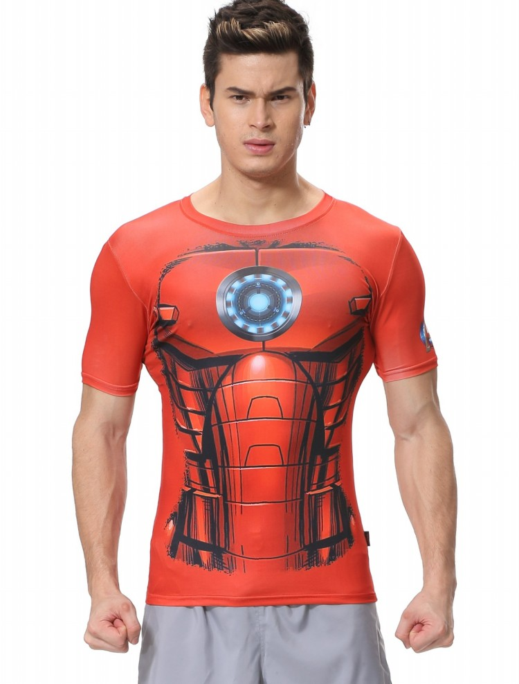 Red Plume Men's Compression Tight Fitness Shirt,Silver Iron Man Armor Sports T-shirt(China (Mainland))