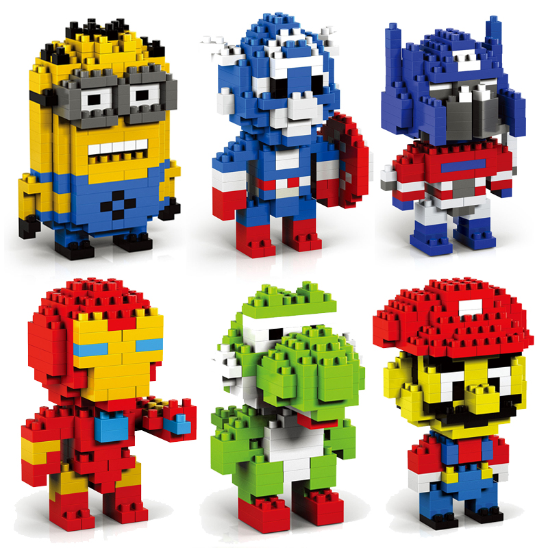 Building Blocks Toys Minion Mario Yoda font b Figure b font Blocks Assembling Toys Child Small