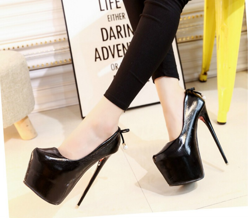 ซื้อ 16เซนติเมตรสูงด้วยปากตื้นเดียวรองเท้ายุโรปและอเมริกาเซ็กซี่ไนท์คลับกันน้ำรองเท้าที่ดีที่มีรอบ