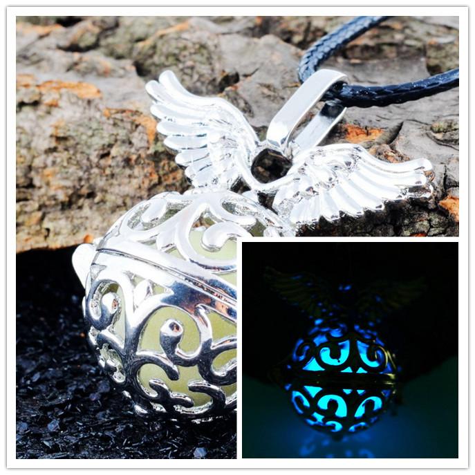 Blue Glow In Dark Locket Pierced Hollow Angel wing Pendant Luminous Statement Vintage Necklace For Women(China (Mainland))