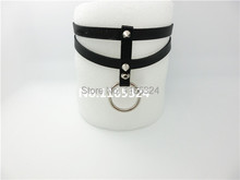 NEW hot Sexy black Leather collar Necklace 100 handmade Rivet punk Harajuku Leather Necklace free shipping