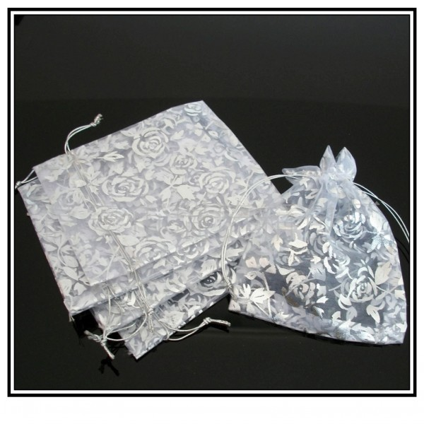 10 7x9cm Can Customized Logo Christmas Organza Bags Wedding Gift Pouches - Shang Mei Jewelry Factory store