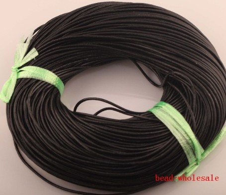 10M/lot Coffee Real Genuine Waxed Leather Cord Shamballa Bracelet Cord for Jewelry Making 1.5mm(China (Mainland))