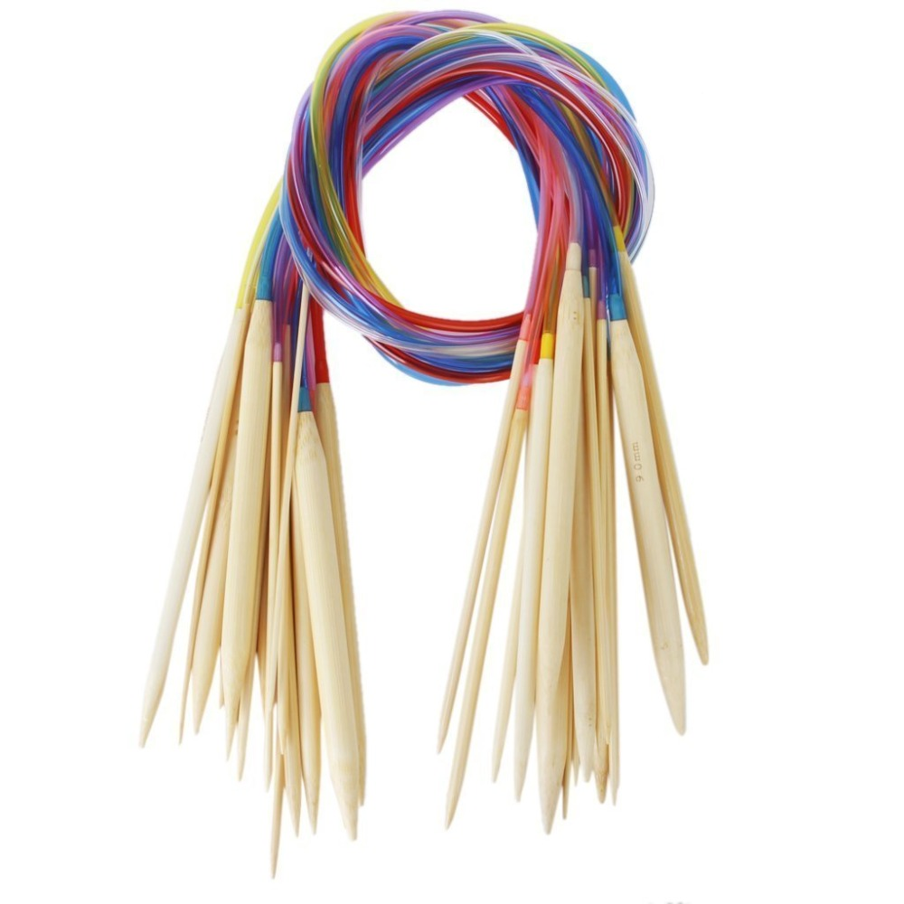 Super Nova 18 Sizes 2.0-10.0mm 80cm Bamboo Circular Knitting Needles Set with Colored Tube(China (Mainland))