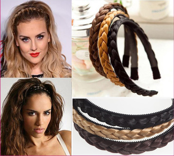 1pc Womens Braided Synthetic Hair Plaited Plait Elastic Headband Hairband 2016 Hair Accessories(China (Mainland))