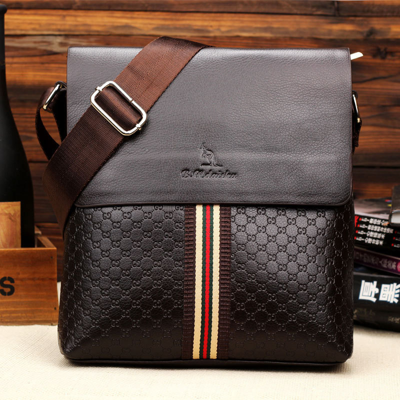 New Men Vintage Messenger Bag Striped Leather Men's Casual Shoulder Bags Top Quality(China (Mainland))