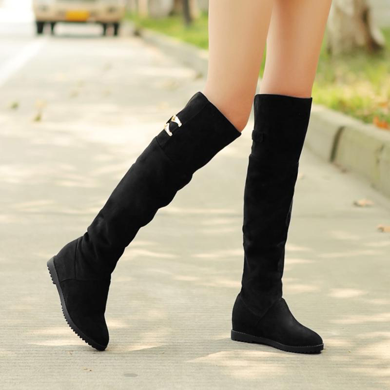 2015 Seconds Kill Real Pu Solid Botas Autumn And Winter Boots Nubuck Women's Shoes Spring Over-the-knee 25pt High-leg Elevator(China (Mainland))