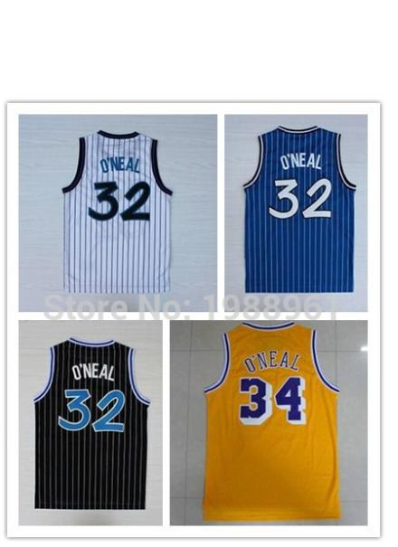 Retro Cheap 32 Shaquille O'neal 34 Shaquille Oneal Stitched Basketball Jerseys Throwback College Blue White Black Yellow Jerseys(China (Mainland))