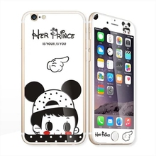Glow in the dark luminous cute girl raised Tempered Glass film Screen Protector+back cover for iPhone 6 case 6S 6 Plus 6s plus