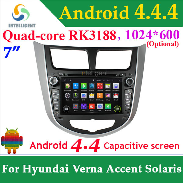 For Hyundai Verna Accent Solaris Quad core RK3188 1024*600 2 DIN Car GPS DVD Android 4.4 with WIFI 3G GPS Capacitive car Radio(China (Mainland))