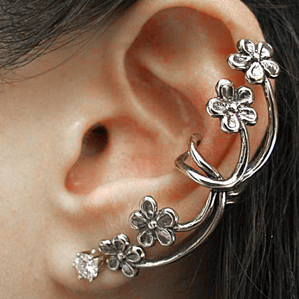 New Fashion Ear Cuff On Wrap Earrings For Left Ear Flower Antique Silver Clear Rhinestone W/Stoppers 52x 21mm, 1 Piece(China (Mainland))