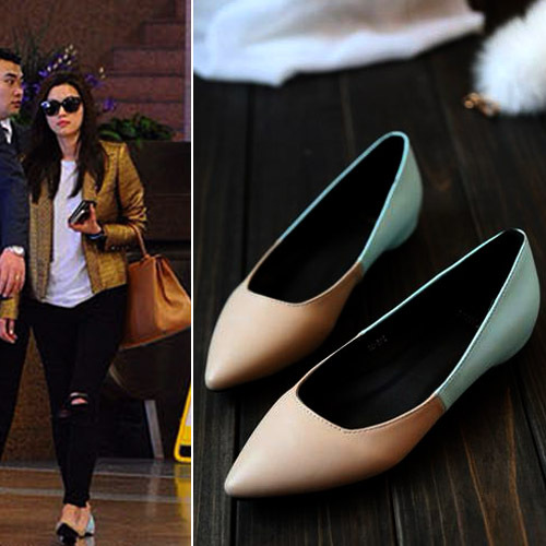2015 new all match sexy increased mosaic shallow mouth candy color type pointed shoes