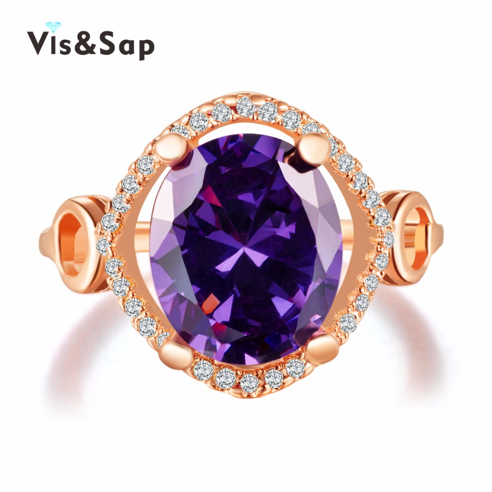 18k Rose Gold plated Amethyst Purple stone Rings For Women cz diamond vintage Wedding bands bague fashion Jewelry VSR183(China (Mainland))