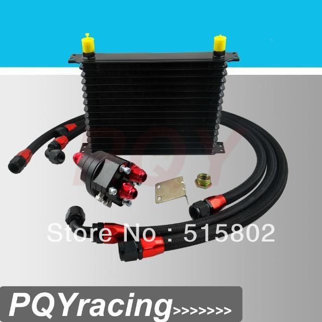Universal 15 Row 10AN Aluminum Engine Transmission Oil Cooler Relocation Kit<br><br>Aliexpress