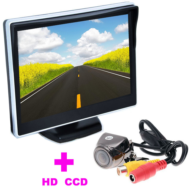 """Universal HD CCD Car Rearview Camera+5"""" TFT LCD Car Monitor 2 in 1 Auto Parking Assistance System car backup camera night vision(China (Mainland))"""