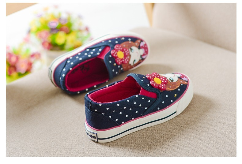 Girls Canvas Shoes Children Fashion Girl Dot Pattern Kids Sneakers Denim Girls Princess Shoes Casual Footwear for Spring Summer (16)