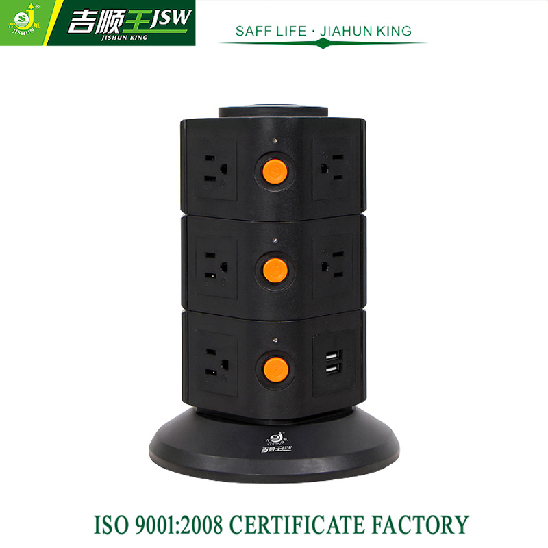 Good Quality Multiple Outlets US AC Tower Socket American Power Strip with 2.1A USB Ports Standard Grounding General Purpose(China (Mainland))