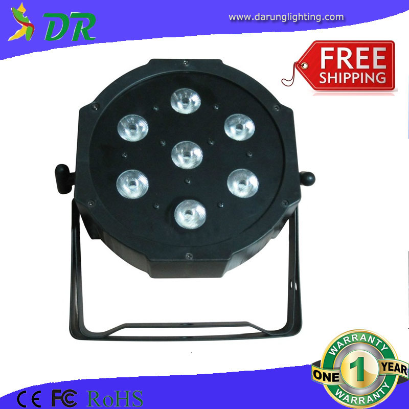 Hot selling led 7x10w flat par can light dmx plastic cheap slim par light(China (Mainland))