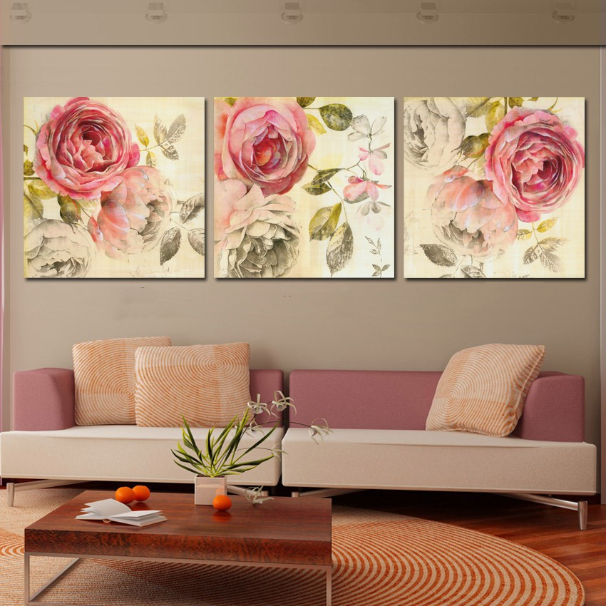 Http Www Aliexpress Com Item 3 Piece Wall Art Painting Classic Flower Rose Canvas Prints Home Decor Modern Paintings No Framed 32612641547 Html