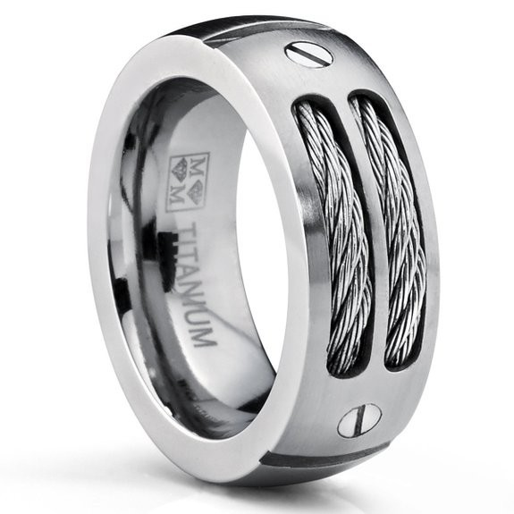 8MM Black silver Titanium Ring Wedding Band CZ Twisted Stainless Steel Cables Sizes 6 15 - Fine jewelry Chinese shop store