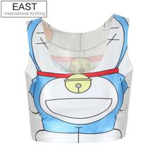 EAST KNITTING B017 new 2014 Women brand t-shirt Fashion Doraemon Cartoon Printed Crop top White camisole Female fitness Vest(China (Mainland))