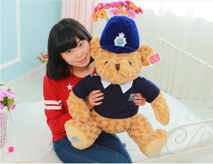 big new plush police teddy bear toy blue cloth and hat teddy bear doll gift about 60cm