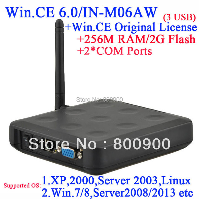 N380W Green mini pc with RDP customized with 256M Ram 2G Flash 2COM port embeded WIN.CE 6.0 with original COA black color 3 USB
